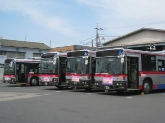 「東急バス川崎営業所」に停車していたバス群