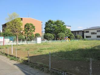 拡張区域(手前)と従来の公園(奥)の全景