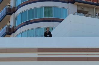 フーディアムの屋上でのメイン会場安全確認