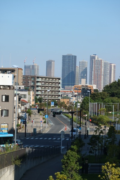 跨線橋西側から見た武蔵小杉の高層ビル群