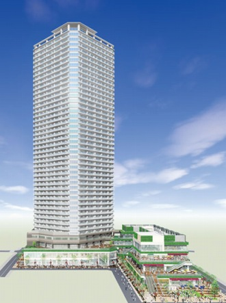 小杉町3丁目東地区再開発ビルのイメージパース