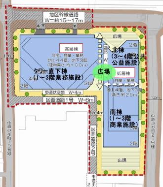 小杉町3丁目東地区の施設配置図