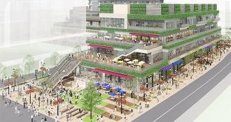 「忍」の北側に整備される「小杉町3丁目東地区」の再開発ビルと広場
