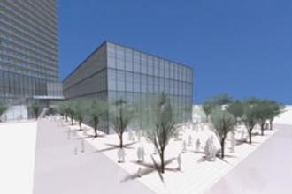 再開発ビル南側の広場