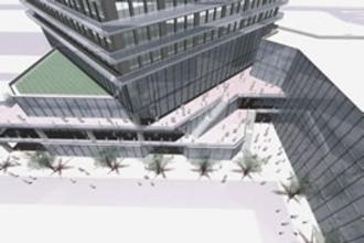 タワーマンションと低層部商業施設の接続部