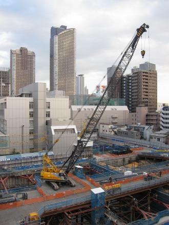 小杉町3丁目中央地区の再開発ビル建設工事