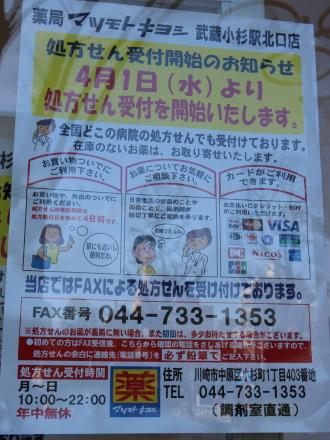 処方箋受付窓口(4月1日より)