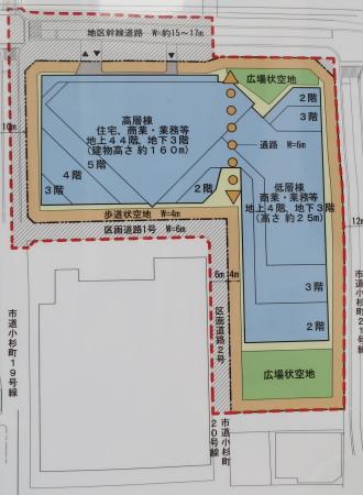 小杉町3丁目東地区再開発の計画図