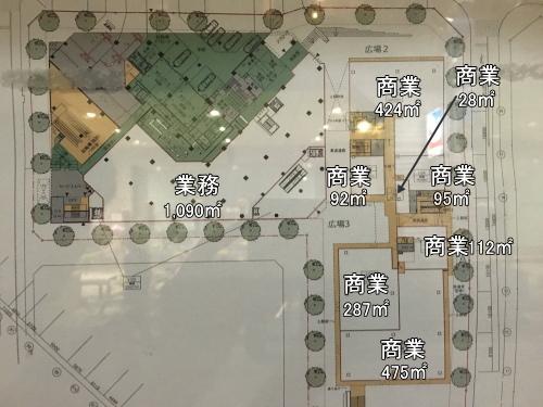 認可を受けた再開発ビルの平面図(1階)