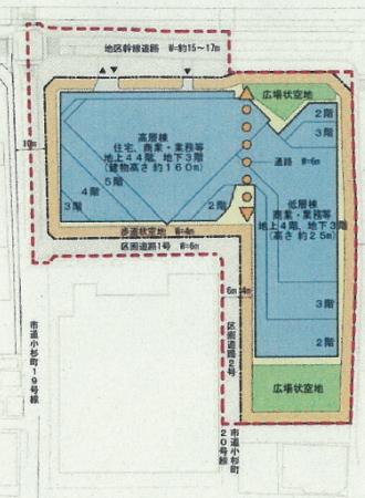 小杉町3丁目東地区の土地利用計画図