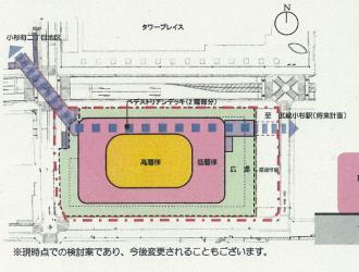 「(仮称)小杉駅北口地区開発計画」の計画図