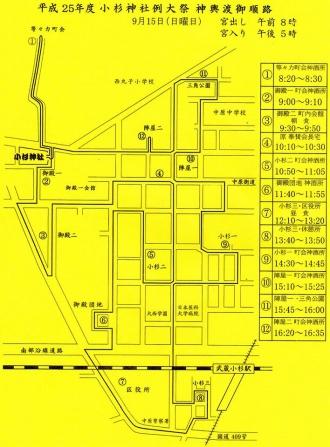 小杉神社例大祭の神輿ルート