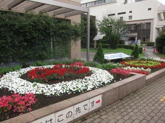 中原区役所の区制40周年記念デザイン花壇