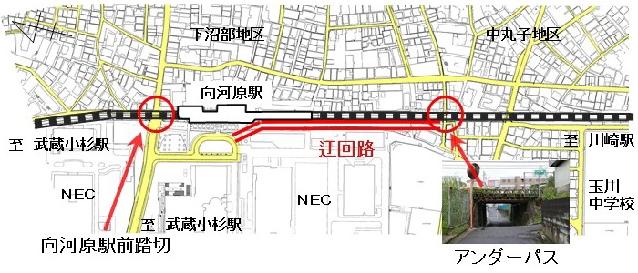 向河原駅前踏切の迂回ルート図