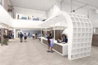 新中原図書館 貸出・返却カウンターのイメージパース