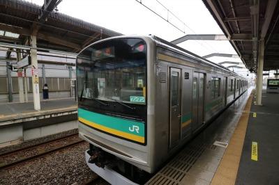 JR武蔵中原駅に停車中の南武支線「205系」車両