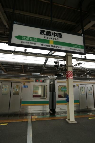 武蔵中原駅の看板と南武支線「E205系」