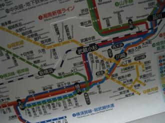 JR武蔵小杉駅周辺の路線図