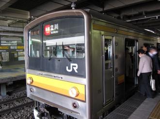JR武蔵小杉駅ホームの南武線快速電車