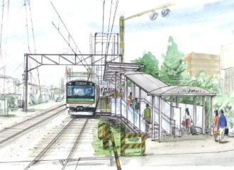 「小田栄駅」の駅舎とホーム