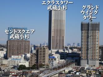 関東労災病院から見たセントスクエア武蔵小杉