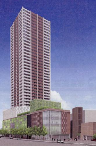 武蔵小杉駅南口地区西街区再開発ビルイメージパース