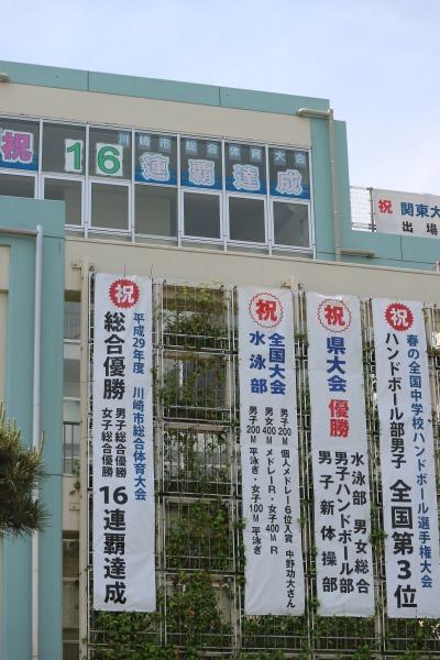 西中原中学校の懸垂幕