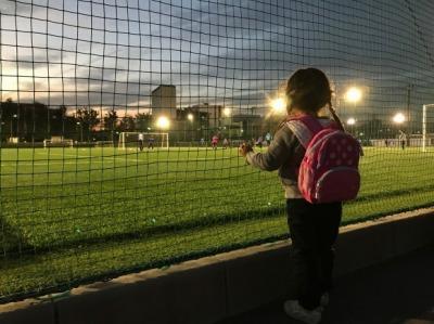 サッカーを観る幼女