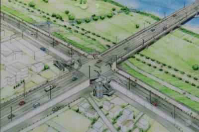 等々力大橋と多摩沿線道路の接続部分のイメージパース