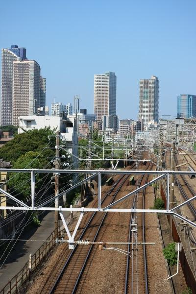 「美富士橋」から見える武蔵小杉の高層ビル群