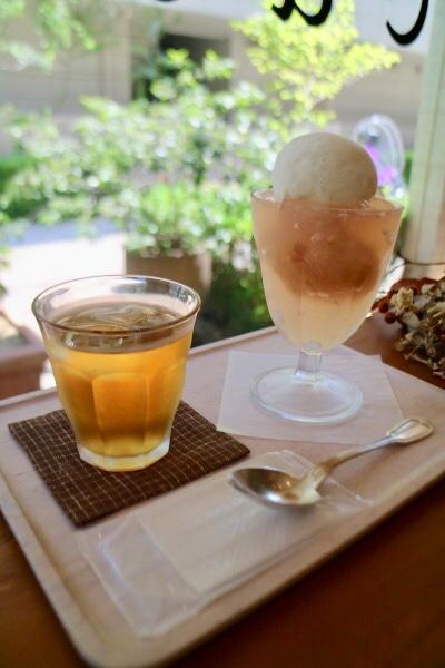 和歌山産イチヂクのコンポートゼリーとバニラアイスクリームのクープ