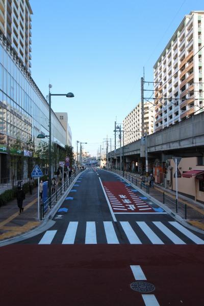 再開発で整備が進む武蔵小杉の歩道