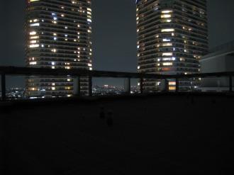 ライトダウン後の屋上(背景:パークシティ武蔵小杉)