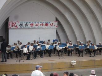 野外音楽堂での川崎市消防局の演奏