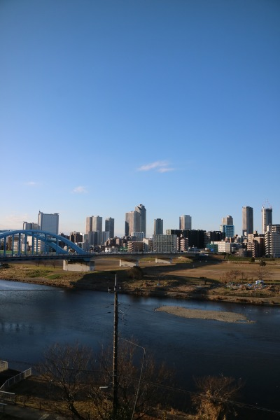 多摩川浅間神社から見える丸子橋と武蔵小杉