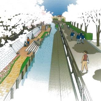 渋川の親水遊歩道完成イメージパース
