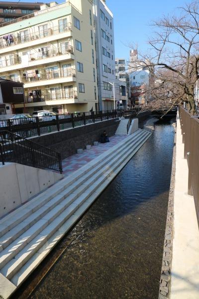 渋川に新たに整備された親水遊歩道