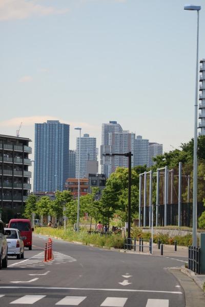 道路沿いから見える武蔵小杉の高層ビル群