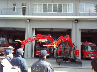 中原消防署での撮影