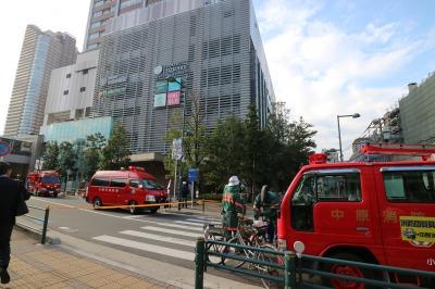 武蔵小杉東急スクエア前の消防訓練