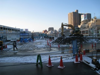 武蔵小杉駅南口地区西街区の雪景色