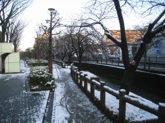 二ヶ領用水の雪景色