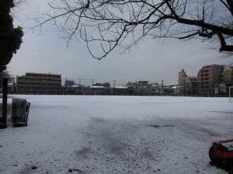 日本医科大学グラウンドの雪