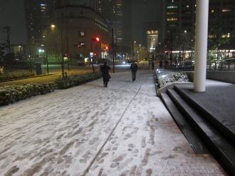 野村不動産武蔵小杉ビル前の積雪