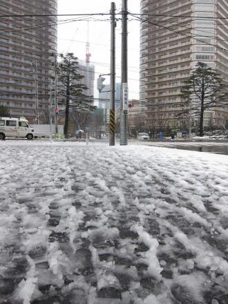シャーベット状になった歩道の雪
