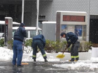 中原消防署前の雪かき
