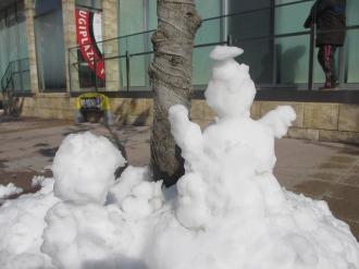 KOSUGI PLAZA前の雪だるま