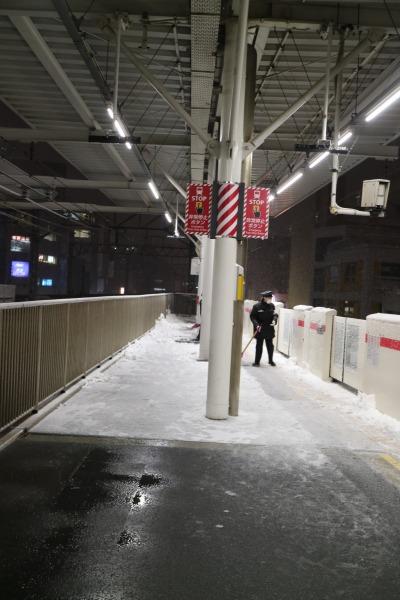 東急武蔵小杉駅ホームの積雪