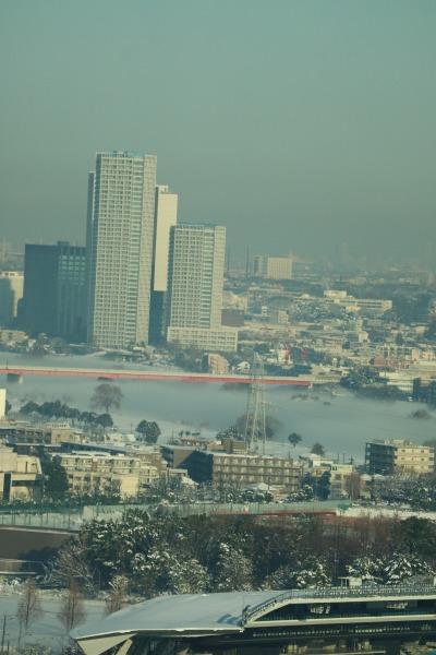 二子玉川と、多摩川の川霧