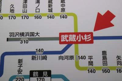 武蔵小杉駅の路線図
